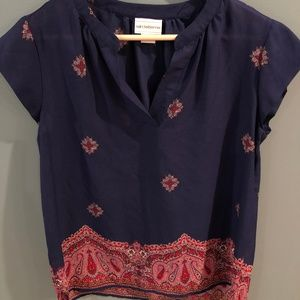 navy and pink/red/blush blouse